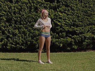Horny camera following her sexy body