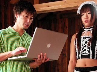 Cute looking Asian lady Mahiru getting drilled